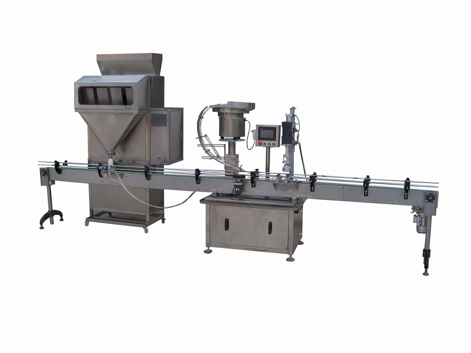 Particle weighing type filling capping linkage line